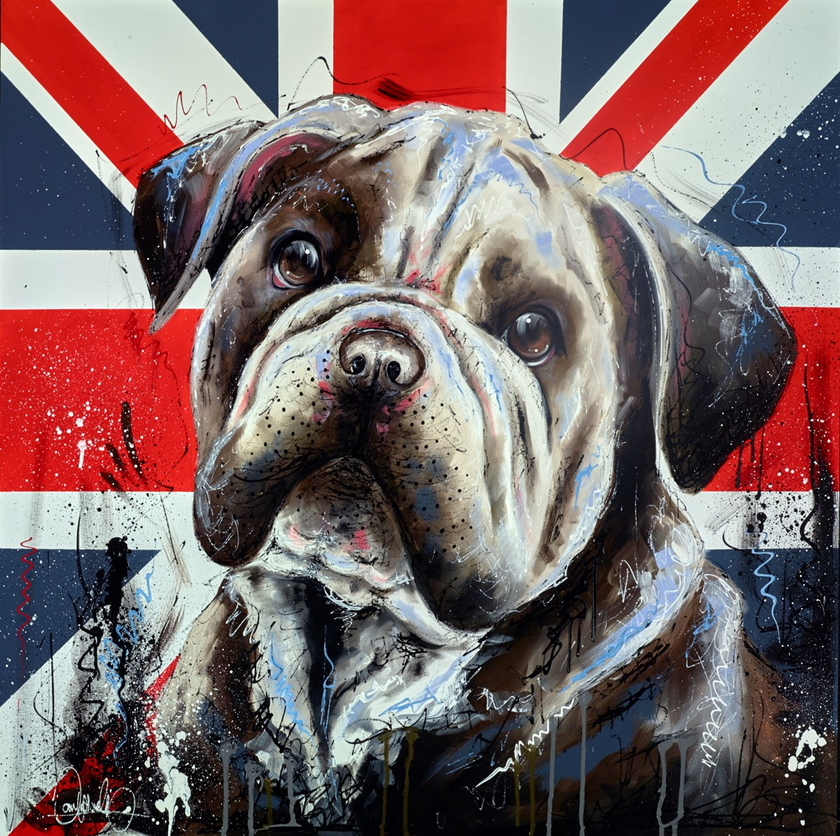 Great British Bulldog by samantha ellis -  sized 39x39 inches. Available from Whitewall Galleries